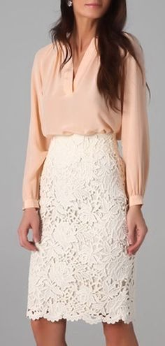 Lace Pencil Skirt + Coral Chiffon Blouse ♥ would be better if the skirt was a bit shorter..