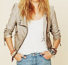 Free People Double Breasted Vegan Leather cream Jacket Silver – $198