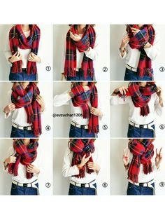 Ayumi│ コ ー デ ィ ネ ー ト Others Looks Blanket Scarf Outfit, How To Wear A Blanket Scarf, Ways To Wear A Scarf, How To Wear Scarves, Tie A Scarf, Scarf Tying Blanket, Plaid Scarf Outfit, Wearing Scarves, Scarf Top
