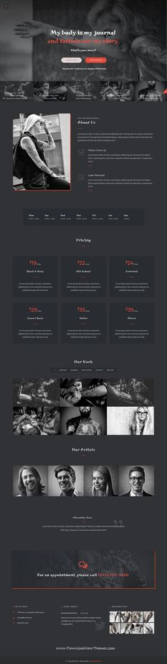 Ampster is a clean and modern design responsive multipurpose #WordPress theme for creative #tattoo and #piercing studio website with 58+ niche homepage layouts to download & live preview click on image or Visit  #webdesign