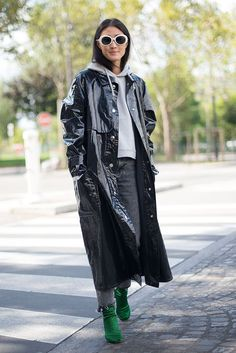 13 Ways To Wear Patent Leather This Winter #refinery29  http://www.refinery29.com/patent-leather-vinyl-gloss-trend-winter-2017#slide-13  Third time's a charm. Hong Kong fashion editor Justine Lee in that Isabel Marant coat, a cropped hoodie, Vetements shoes, and frayed jeans. See how it can dress up even the most casual of looks?...