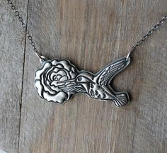 Hummingbird and rose fine silver pendant sterling silver necklace by ALMrozarka on Etsy Silver Pendants, Sterling Silver Necklaces, Silver Jewelry, Small Skull, Handmade Jewelry, Handmade Silver, Silver Charms, Pure Products, Chain