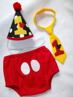 Minnie Mouse Birthday boy Mickey Mouse outfit cake smash baby hat diaper cover bow tie dress up banner brother sister 9 12 18 24 m toddler on Etsy, $15.50