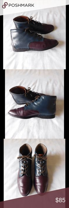 Real Leather! Vintage Block Booties W/Shoelaces Almost New. These pair of booties are amazing and spectacular. Gorgeous colors and exquisite combination. Size 9.0 - Negotiable Price. Shoes Ankle Boots & Booties