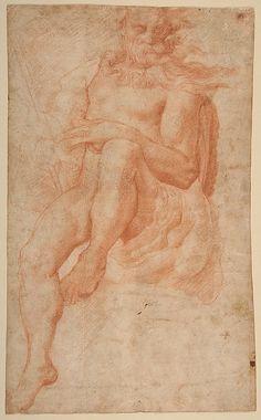 Study for the Figure of Aeolus Pellegrino Tibaldi (Italian, Puria di Valsolda 1527–1596 Milan) 16th century, Red Chalk.
