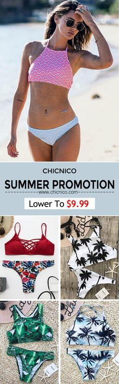 Lower To $9.99!  Chicnico  Summer Promotion Black Cross Push Up Padded Stretchable Halter Bikini