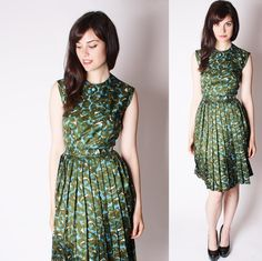Graphic Print 60s Watercolor Dress / Mad Men Dress / by aiseirigh, $92.00