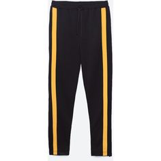 YELLOW STRIPE TROUSERS - NEW IN-TRF | ZARA United Kingdom ($22) ❤ liked on Polyvore featuring pants, striped pants, striped trousers, yellow trousers, stripe pants and yellow pants