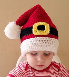 [sc [sc Charmed_by_ewe_santa_hat_pattern_made_by_michele_mclean_small [sc Crochet Santa Hat, Crochet Christmas Hats, Bonnet Crochet, Crochet Kids Hats, Holiday Crochet, Crochet Beanie, Crochet Crafts, Crochet Projects, Knitted Hats