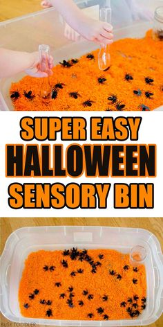 Sensory Bin Simple Halloween Sensory Bin that was so quick and easy to make. Such a great indoor activity to celebrate Halloween!Simple Halloween Sensory Bin that was so quick and easy to make. Such a great indoor activity to celebrate Halloween! Halloween Tags, Preschool Halloween Party, Halloween Bebes, Halloween Crafts For Toddlers, Theme Halloween, Toddler Halloween Activities, Halloween Classroom Decorations, Halloween Crafts Kindergarten, Quick Halloween Crafts