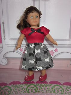 Dress for mini American Girl Dolls red satin and black and white cotton scotty dogs party dress Valentines heart dress American Girl dolls by DreamyDoll on Etsy