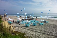 Table settings for a wedding or party on the beach! O'Brien Productions 770-422-7200