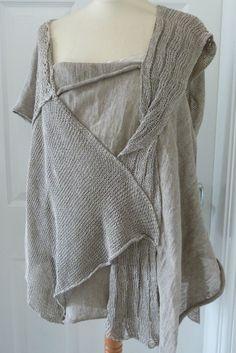 fabulous ZUZA BART quirky Linen asymmetric jumper/top in a natural XL NEW #ZuzaBart