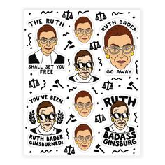 Sassy Ruth Bader Ginsburg Sticker Sheet - Show off your love of that amazingly beautiful and