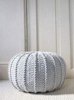 Light grey cotton floor pouf ottoman knitted pouf by ZuriHouse