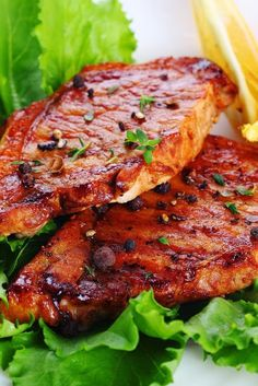 Grilled Pork Steaks with Lemon Butter Sauce ~Here's a simple recipe for pork steaks or chops. All you do is baste the meat with a sauce that consists of butter, lemon juice and garlic. Very basic, and (Diy Lemon Butter) Grilling Recipes, Pork Recipes, Cooking Recipes, Coleslaw Recipes, Cooking Food, Good Food, Yummy Food, Tasty, Delicious Meals
