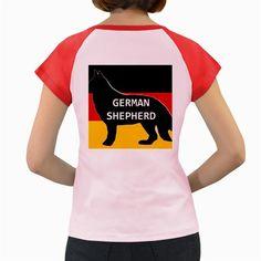 German+Shepherd+Name+Silhouette+On+Flag+Black+Women's+Cap+Sleeve+T-Shirt
