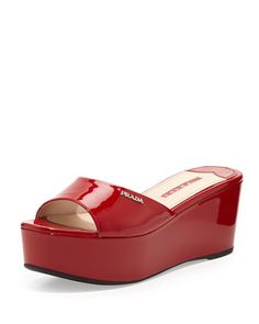 Patent Leather Flatform Slide, Red by Prada at Neiman Marcus.