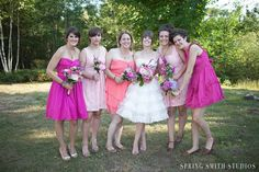 Love the dress and mismatched bridesmaids!