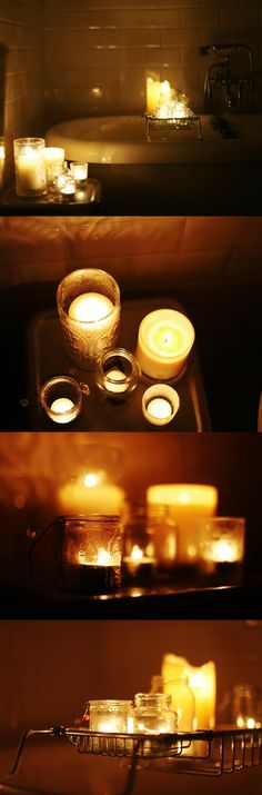 DISPLAY :: So serene. Bathroom candles on a tray.