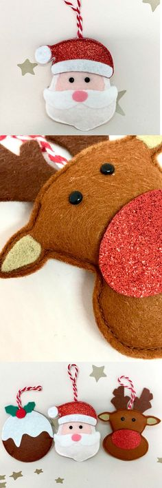These are going on my tree. The santa, pudding and reindeer felt ornaments are so cute, i love them! #christmas #felt #ad