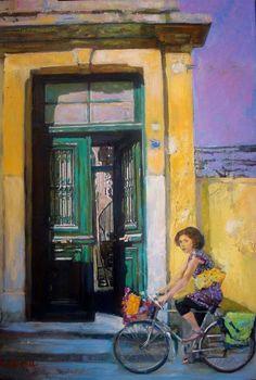 Smaragda Papoulia-Vasilakoudi (Greek painter, b. Painter Artist, Artist Painting, Illustrations, Illustration Art, Yves Montand, Greek Paintings, Street Art, Call Art, Bicycle Art