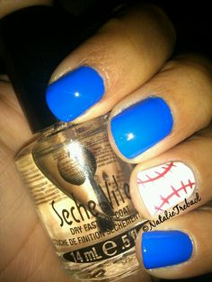 Baseball Nails [Essie in Butler Please, Pure Ice in Siren, Spoiled in Correction Tape]