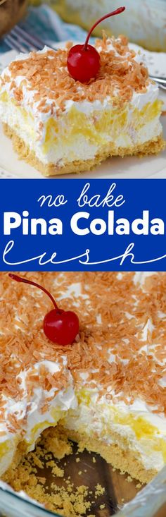 This No Bake Pina Colada Lush is super simple to throw together, but is absolutely delicious! Perfect for picnics and parties!