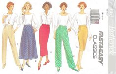 Butterick 3163 Misses' 90s Skirt & Pants Sewing Pattern Size 14 to 18 Hip 36 to 40 by Denisecraft on Etsy