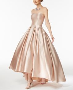 Betsy & Adam Strapless High-Low Ball Gown - Tan/Beige 14