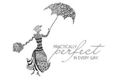 Mary Poppins Art Print with zentangle art work by designedtothrive