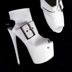White Big Belted Ankle High Heels Club Shoes, Long Boots, Photo Colour, Platform Shoes, Low Heels, Vegan Leather, Knee Boots, Calves, Peep Toe