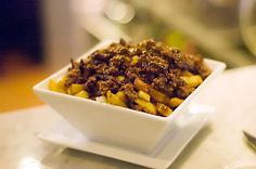 Ground Beef Poutine at W Burger Bar in Toronto Food Dishes, Main Dishes, Canadian Dishes, Cheese Curds, Beef Meals, Burger Bar, Poutine, Cheat Meal, Side Recipes