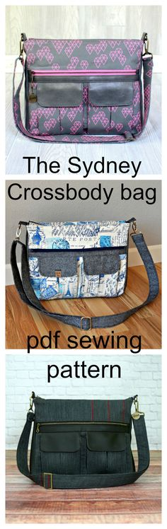 The Sydney crossbody bag pdf sewing pattern. The perfect balance of form and function, this large everyday crossbody bag is ideal for daily use. It features multiple storage options, including two pleated cargo pockets, a large zippered pocket, a back slip pocket and a zippered pocket inside. A zip top opening keeps belongings secure and a wide crossbody strap ensures carrying comfort.