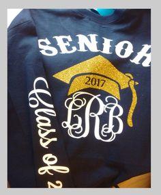 1 Senior Shirt, Graduation Long Sleeve Shirt, Preppy Tie, Grad Cap, Class of 2017 by CottageatRusticLane on Etsy https://www.etsy.com/listing/497580630/1-senior-shirt-graduation-long-sleeve