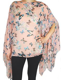 Womens Juniors Fashion Shawl Tunic Poncho Butterfly Cover up One Size Scarf Top Peach -- Find out more about the great product at the image link.Note:It is affiliate link to Amazon.