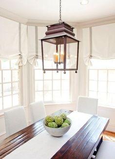 Window treatments and light fixture