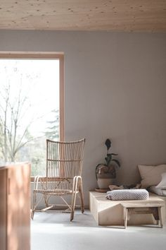 Soft grey and warm wood living room with a plywood daybed and large scale window Scandi Living Room, Living Room Trends, My Living Room, Home And Living, Living Room Designs, Living Spaces, Room Interior, Interior And Exterior, Interior Design