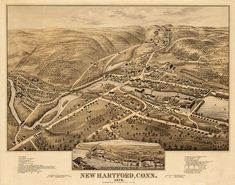 New Hartford, Litchfield County, Connecticut (CT.) 1878.  O.H. Bailey & Co.  Vintage reproduction bird's eye view print map.