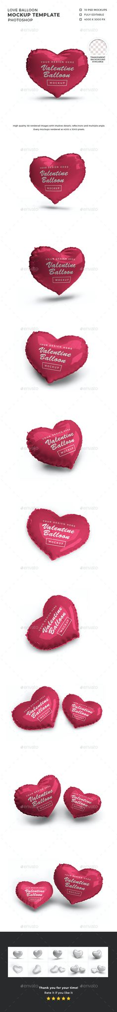 Valentine Love Balloon Mockup Template by DendySign | GraphicRiver