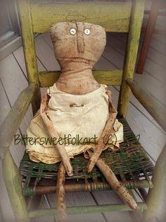 Primitive rag doll ..vintage romper set ..up for adoption
