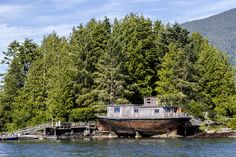 Ship cabin on the coast of British Columbia, Canada. Submitter Mark McInnis says,  8 children were born and raised here!