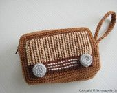 Crochet Purse - VINTAGE RADIO PURSE - cell phone pouch