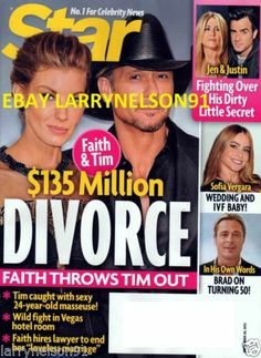 Star Magazine Cover - Faith Hill Condition: Pre-Owned, Gently Read Shipping Label: Printed Label (removed for photo) Faith Hill Tim McGraw Sofia Vergara Sofia Vergara Wedding, Jen And Justin, Tim Mcgraw Faith Hill, Tim And Faith, Star Magazine, 24 Years Old, Hollywood Celebrities, Jennifer Aniston, Brad Pitt