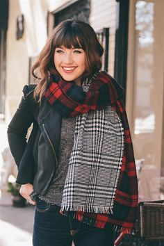 Double Sided Tartan Plaid Blanket Scarf