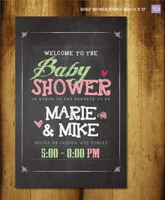 Chalkboard Baby shower Party Poster  Customized by DallinsPaperie, $17.00