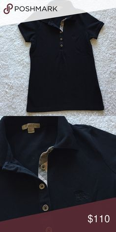 Burberry Top Polo shirt, size Small, black, no flaws, little wrinkled cause of storage Burberry Tops Blouses