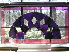 LT Stained glass Panel window hanging dark by UniqueStainedGlass