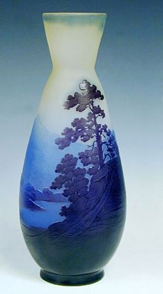 Emile Galle -  Pear-shaped Vase circa 1900  Landscape on multi-layer glass representing Vosges region entirely free of acid.  Signature: Reserve Galle