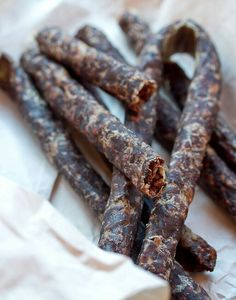 Droëwors is a South African snack food, based on the traditional, coriander-seed spiced boerewors sausage.